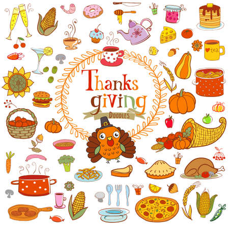 holiday food: Thanksgiving food doodles and design elements with holiday traditional symbols.