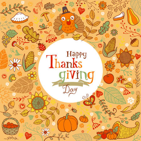 holiday greeting: Thanksgiving festive frame or greeting card with holiday traditional symbols.