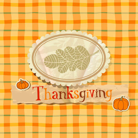 greeting card background: Thanksgiving greeting card on Checkered seamless background