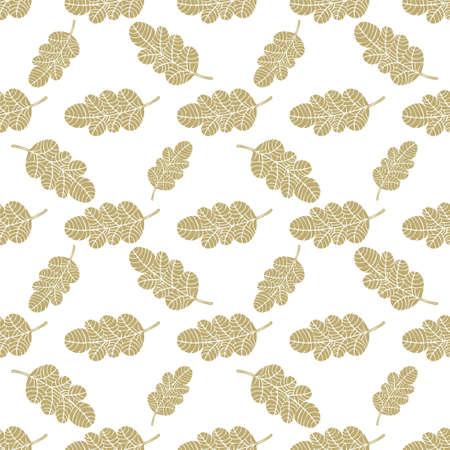 leaf pattern: Seamless oak leaves beautiful background Illustration