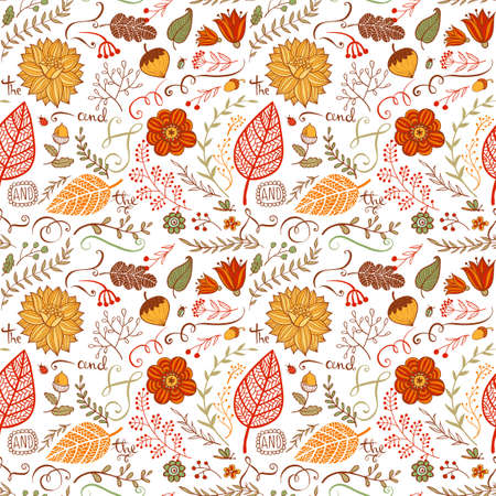 conceptual: Vector autumn floral seamless background in doodle style, hand-drawn flowers and insects and plants Illustration
