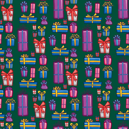 holiday gifts: Holiday seamless background with cute decorative gifts