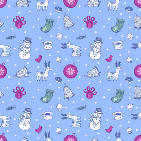 Holiday seamless background with christmas traditional symbols