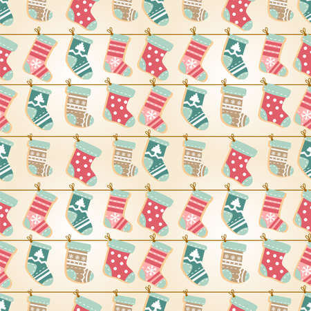 Holiday seamless background with cute decorative socks Illustration