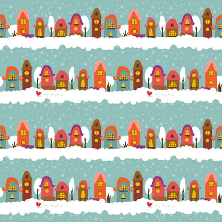 Winter seamless background with cute cartoon town