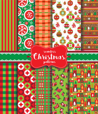vintage patterns: Christmas seamless background with traditional holiday symbols