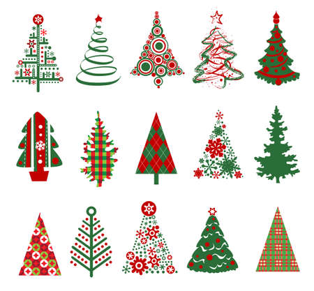 christmas trees: Various stylized set of Christmas trees.