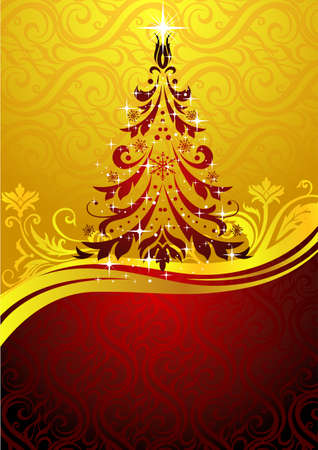 Ornate red Christmas tree - Possible to create holiday cards and ornaments.