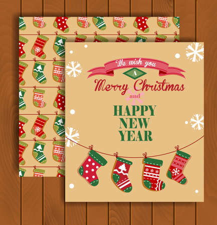 stuffer: Cute Christmas greeting card with an envelope - the socks hanging on a rope.