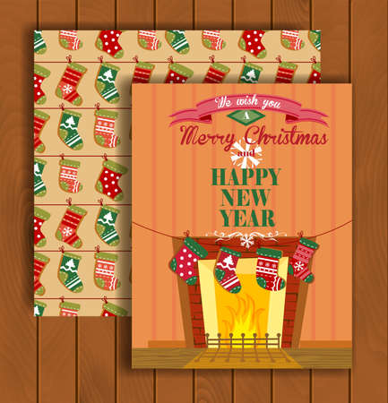 stuffer: Cute Christmas greeting card with an envelope - the socks hanging on a rope near fireplace.