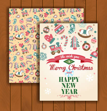 Cute Christmas greeting card with an envelope - different Christmas ornaments.