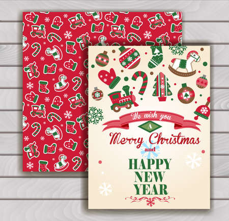 stuffer: Cute Christmas greeting card with an envelope - cute Christmas ornaments.