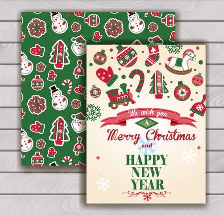 stuffer: Cute Christmas greeting card with an envelope - traditional Christmas ornaments. Illustration