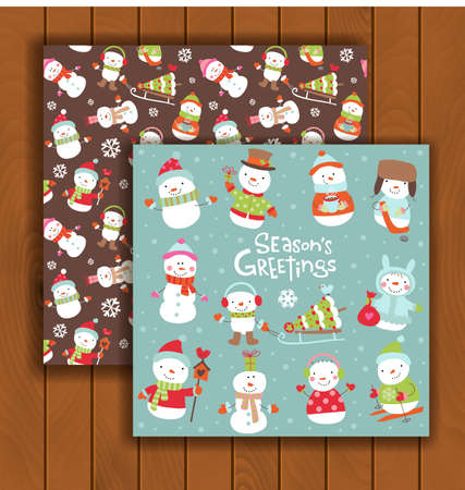 christmas cute: Cute Christmas greeting card with an envelope - cute cartoon snowmen