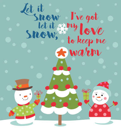 beside: Loving couple of snowmen with gifts beside christmas tree.Greeting card Illustration
