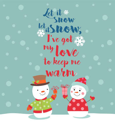 let it snow: Loving couple of snowmen with gifts - Vector illustration for banners, backgrounds, decorations. Illustration