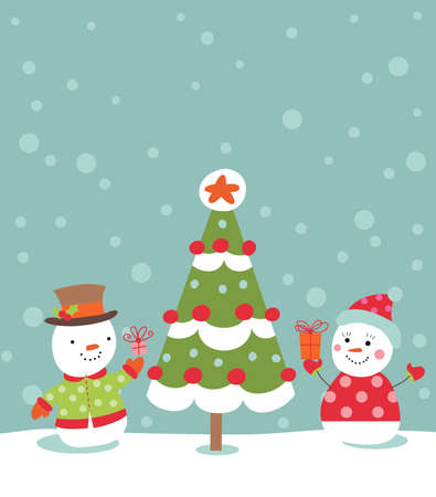 Loving couple of snowmen with gifts beside christmas tree.Greeting card Illustration