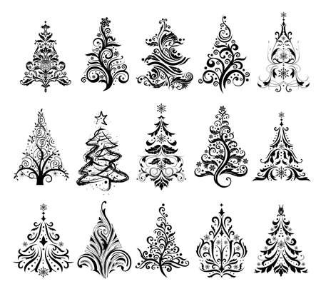 pine tree silhouette: 15 designs in one file. To create holiday cards, backgrounds, ornaments, decoration