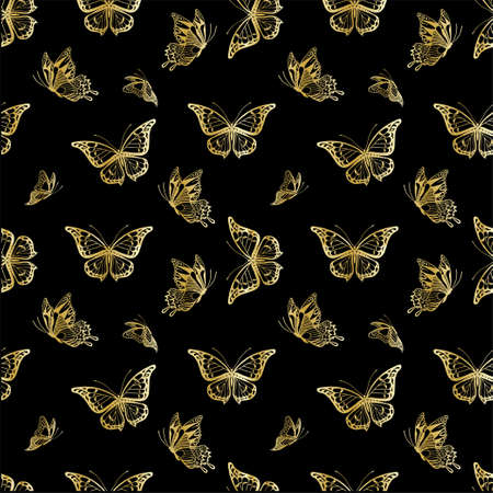 Seamless background with detailed golden butterflyes on black Vettoriali
