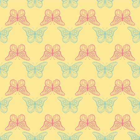Seamless background with detailed butterflyes