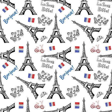 Seamless background with symbols of Paris - Eiffel Tower and other Illusztráció
