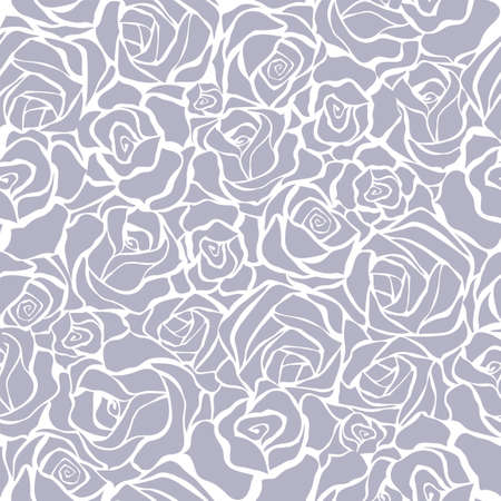 Seamless background with white and grey roses Illustration