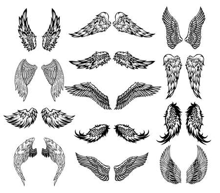 Wings tattoo set Stock Illustratie