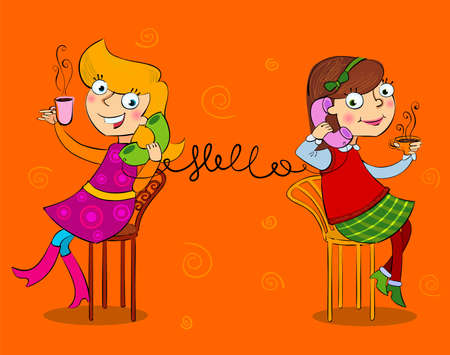 Two cartoon girls talking telephone