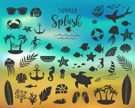 Summer vintage silhouettes Illustration