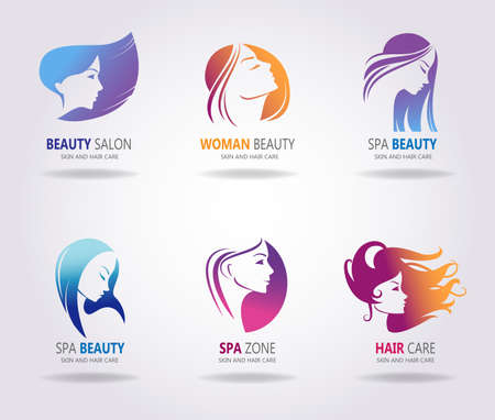 sexy brunette woman: Girls portrait - vector silhouette icons.