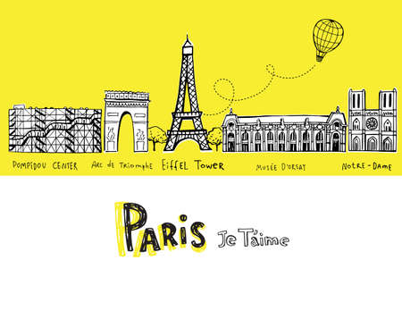 Paris city sights illustrations