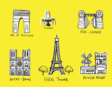 culinary tourism: Paris city sights illustrations