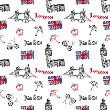 brige: Seamless background with symbols of London