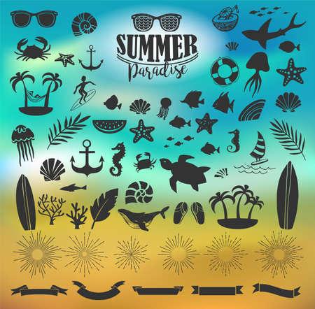 Summer vintage silhouettes and doodles Illusztráció