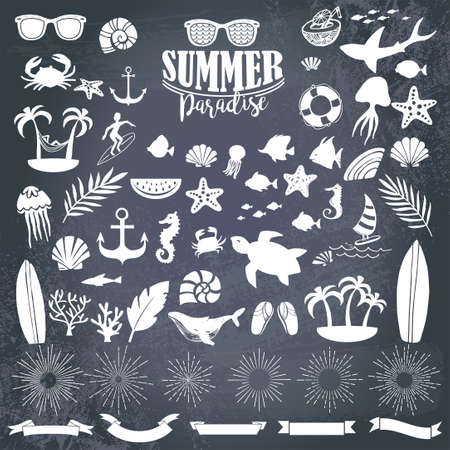 Summer vintage silhouettes and doodles for logo, quotes, poster, t-shirt, label, sticker and any vintage design with summer theme.