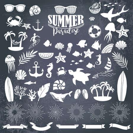 Summer vintage silhouettes Illusztráció