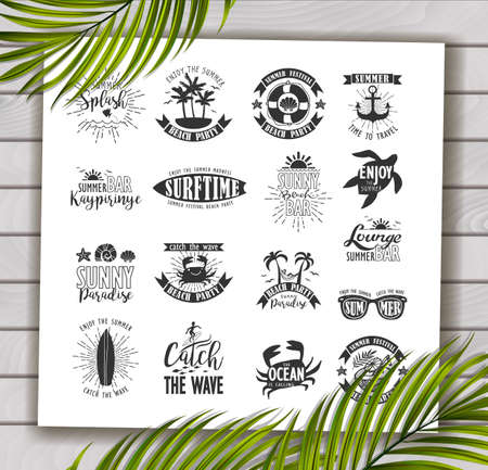 holliday: Summer Designs on Tropical Beach Background Illustration