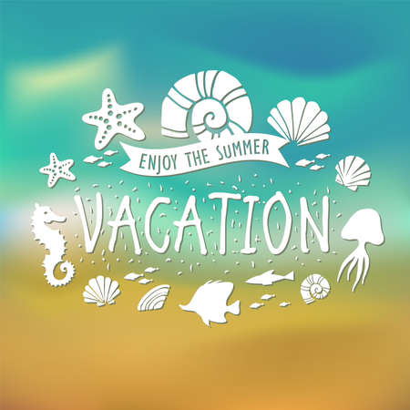 horse fish: Banner for Summer vacation poster, t-shirt, label, sticker and any design with summer theme.