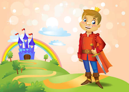 Fairy tale castle and handsome Prince Ilustrace