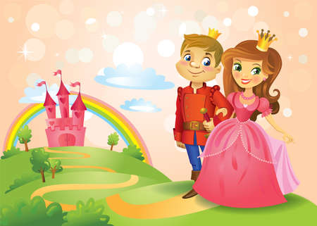 Fairy tale landscape, beautiful Princess and Prince on the road leading to the castle. Vector illustration Stock Illustratie