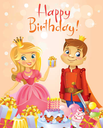 Illustration of beautiful Princess and Prince, Possible to use as party invitation, greeting card, banner. Vector illustration.