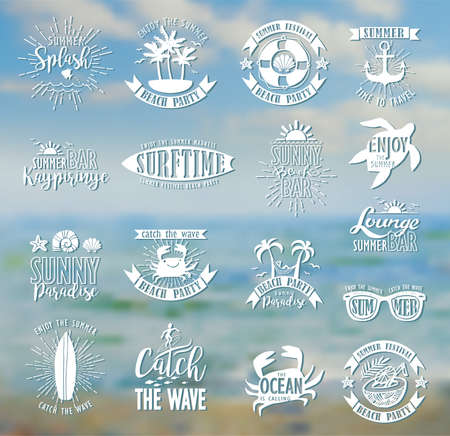water reflection: Summer Designs on Tropical Beach Background Illustration