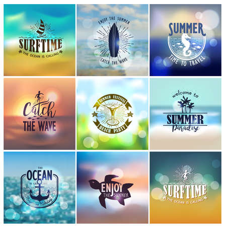 water reflection: Vector set of summer travel and vacation designs on a blurred backgrounds for logo, poster, t-shirt, label, sticker and any vintage design with summer theme.