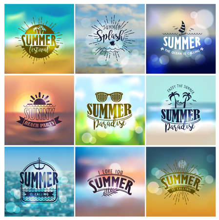 nighttime: Vector set of summer travel and vacation designs on a blurred backgrounds for logo, poster, t-shirt, label, sticker and any vintage design with summer theme.