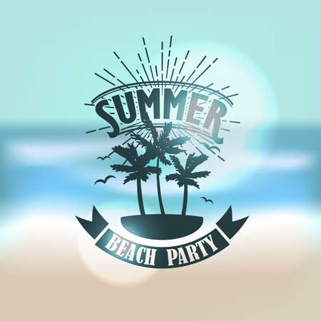 water reflection: Banner for summer beach party