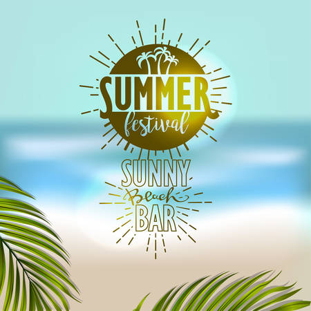 water reflection: Banner for summer beach vacation Illustration