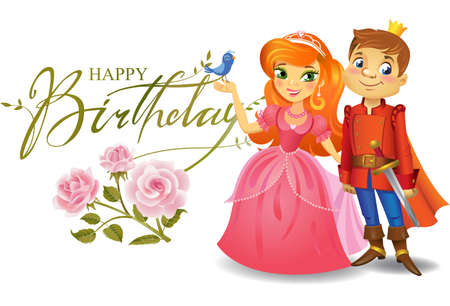 Illustration of beautiful Princess and Prince with roses on wight background , Possible to use as party invitation, greeting card, banner. Vector illustration.