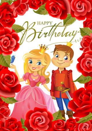 Illustration of beautiful Princess and Prince in frame of roses on white background , Possible to use as party invitation, greeting card, banner. Vector illustration.
