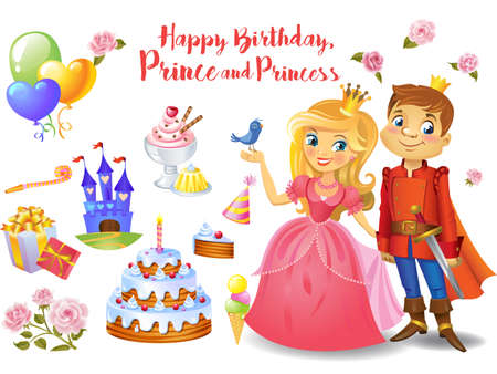 Cute birthday design elements for a party in style of the little prince and princess. Illustration