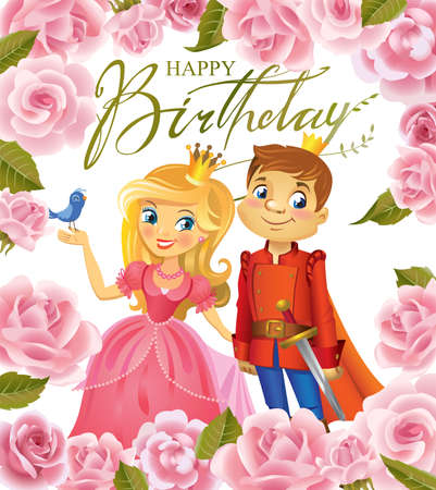 Happy Birthday, Princess and Prince, greeting card.